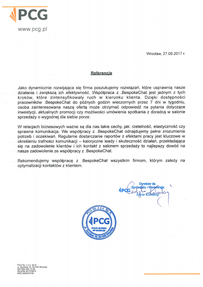 Referencje PCG